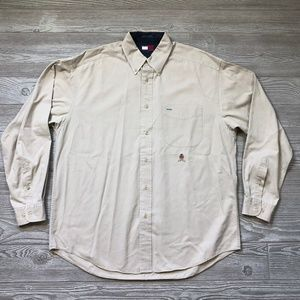 VTG Tommy Hilfiger Tan Khaki Button Shirt M V77